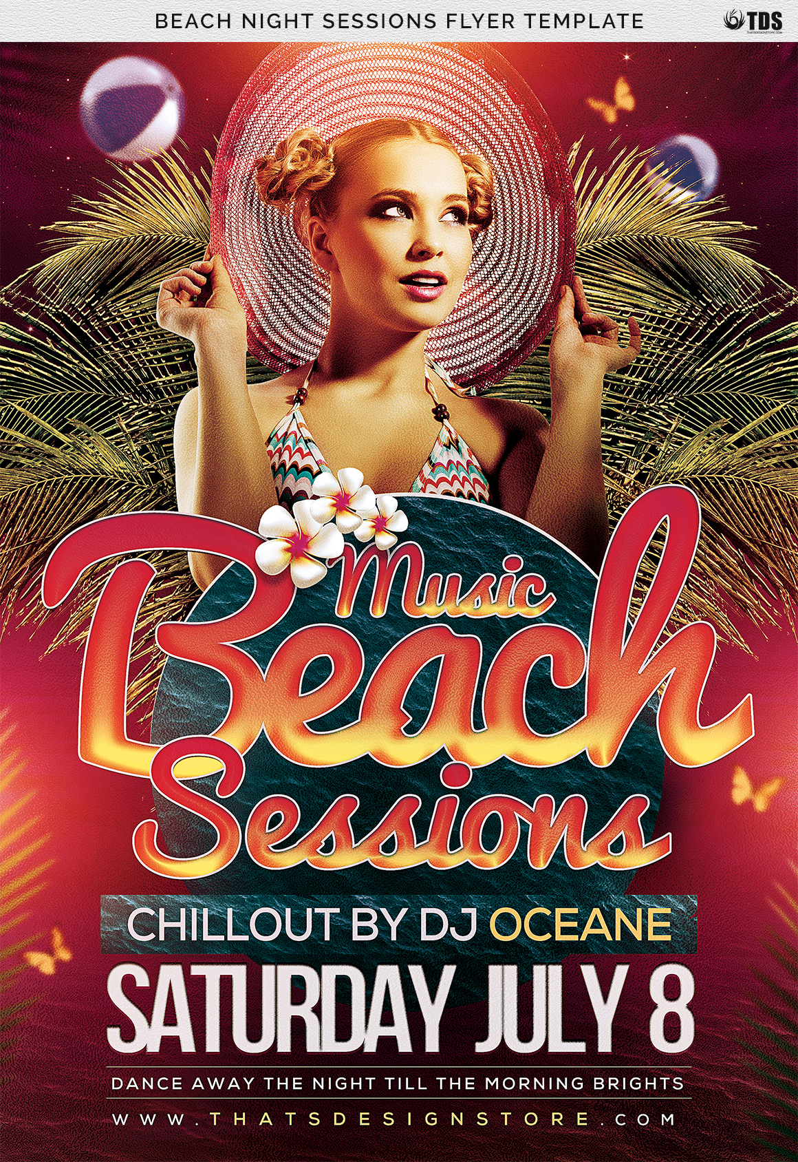 Beach Night Sessions Flyer Template example image 7