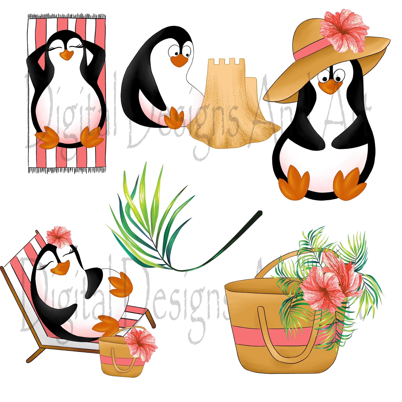 Beach penguins clipart (80122)   Illustrations   Design ...