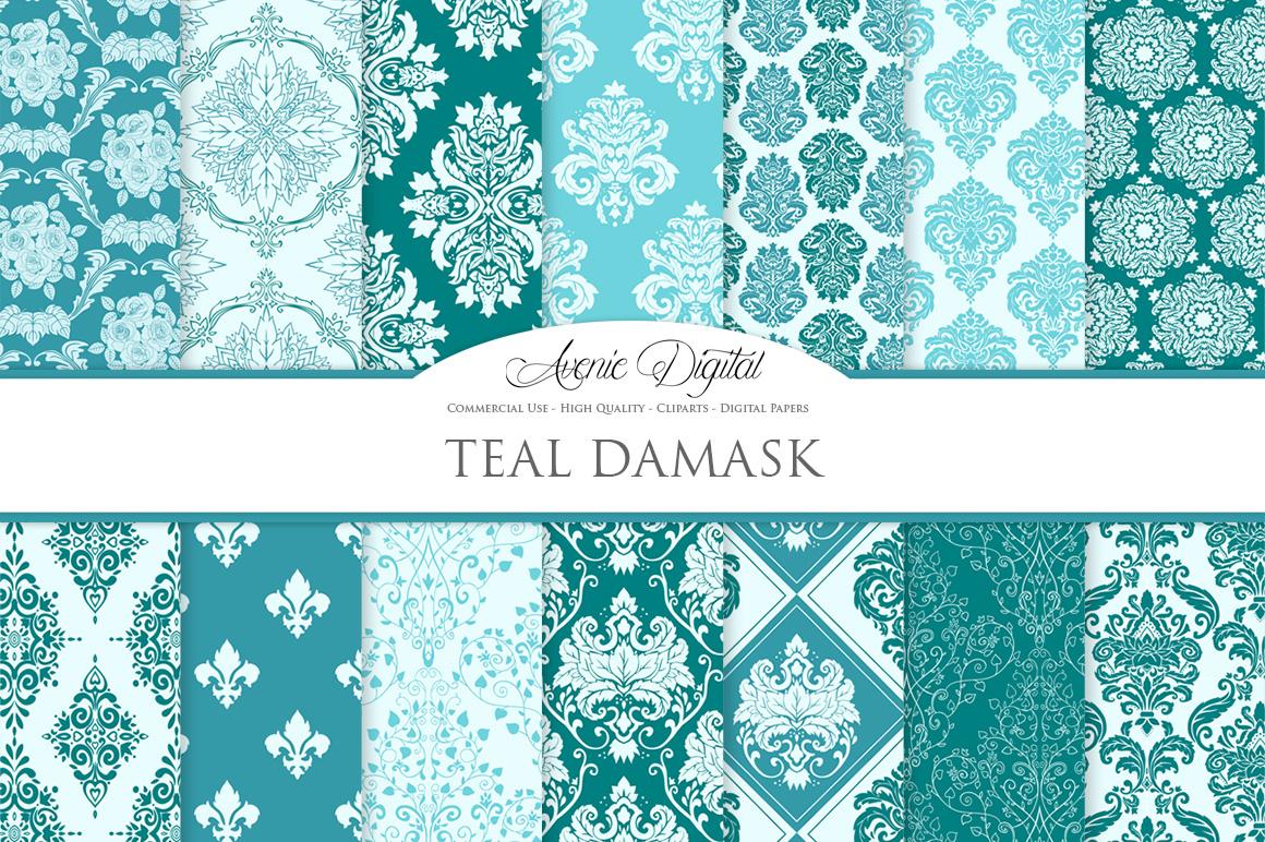 28 Teal Damask Patterns - Seamless Digital Papers Bundle example image 1