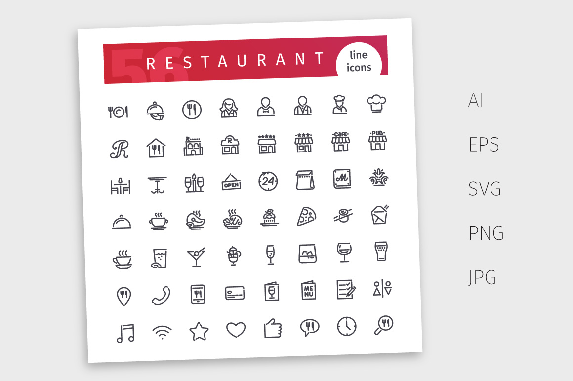 Restaurant Line Icons Set example image 4