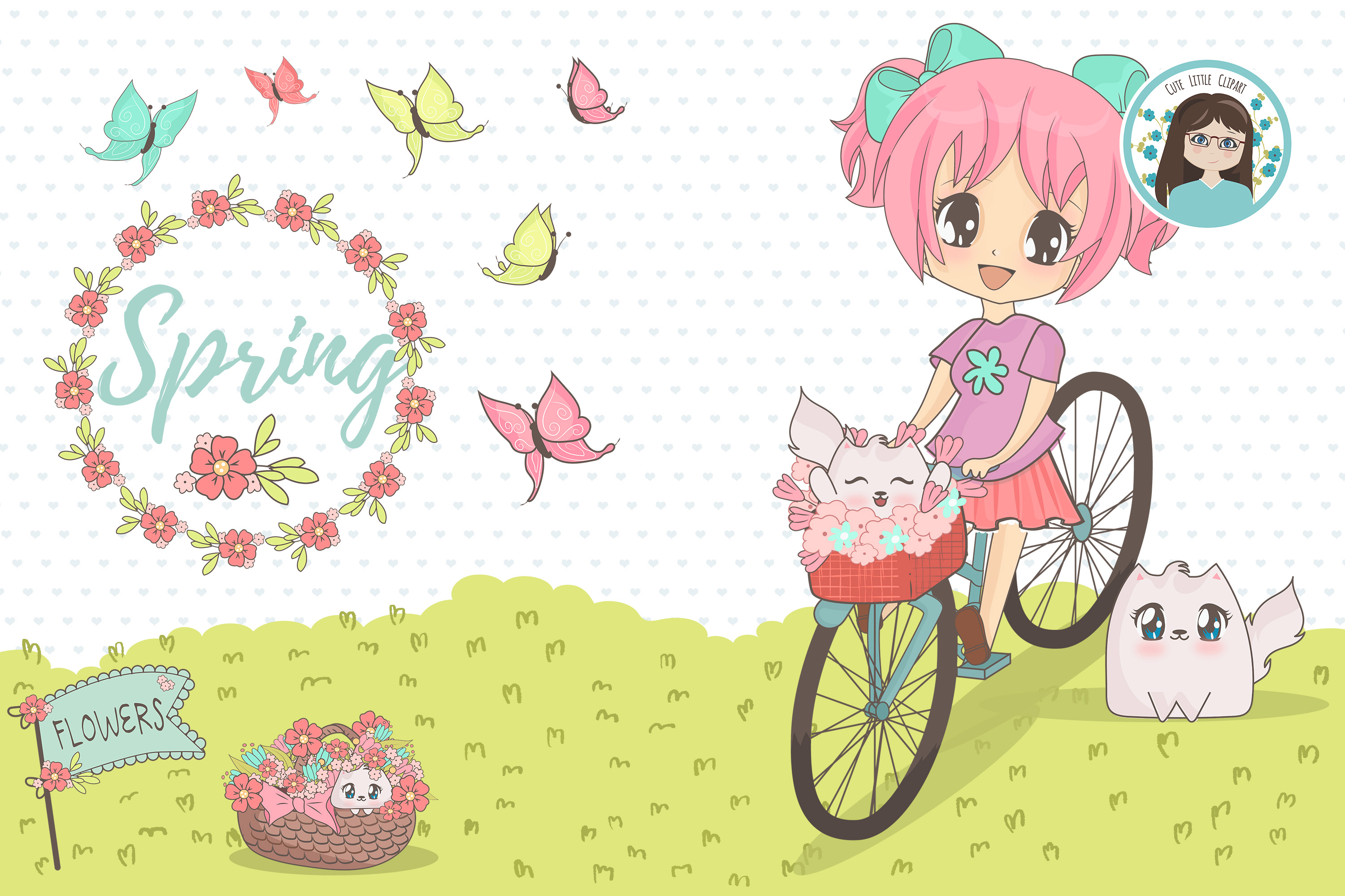 Spring chibi characters example image 5