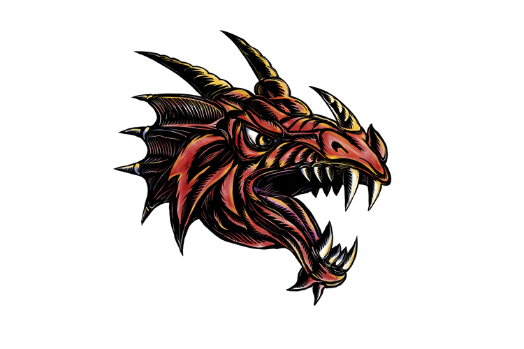 Angry Dragon Head Scratchboard example image 1