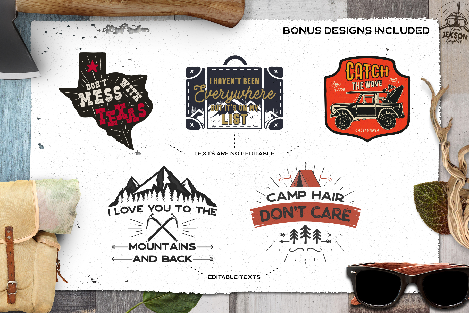 Retro Camp Badges | Adventure Patches. Part 3 | SVG Cut File example image 8