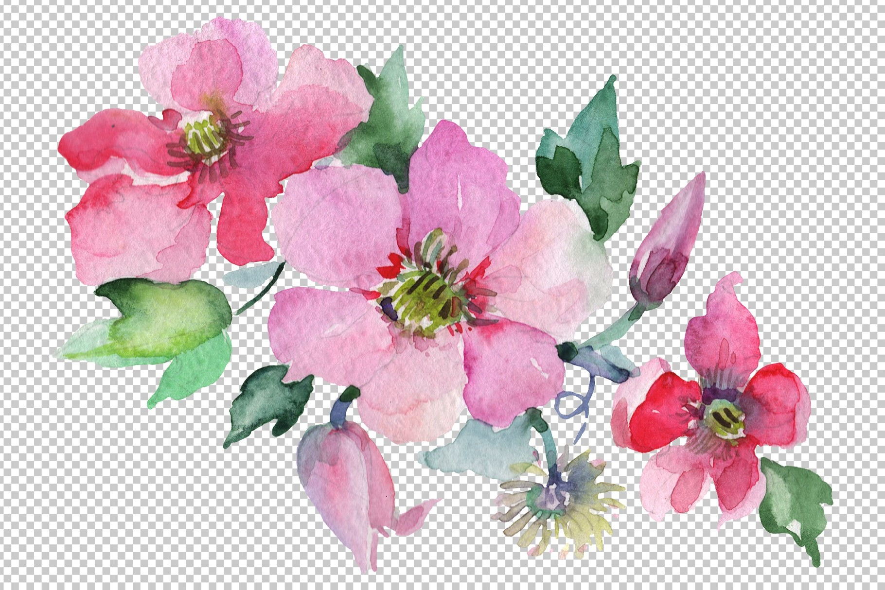 Bouquet Angelic flight Watercolor png example image 3