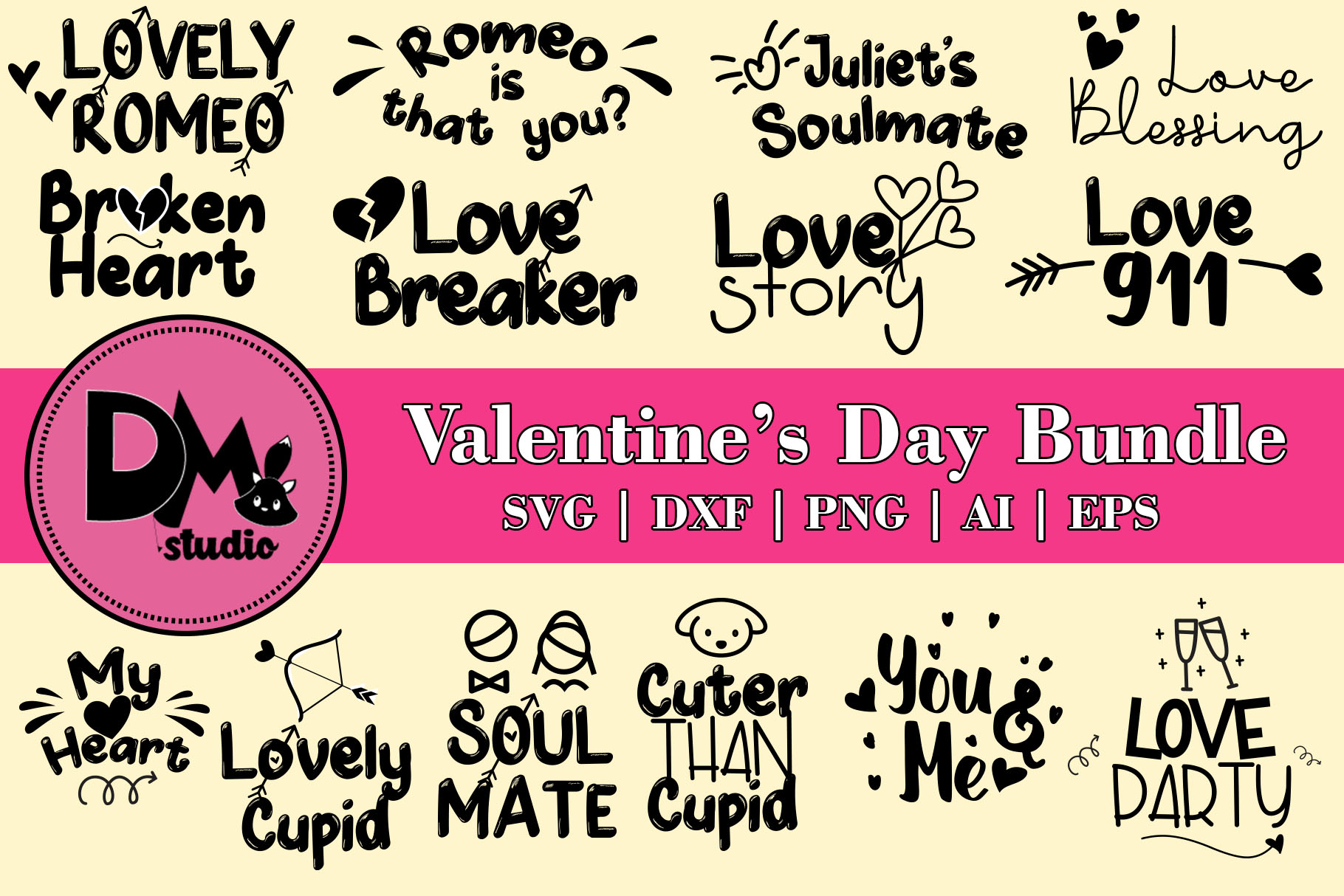 Valentine's Day Words Bundle example image 1