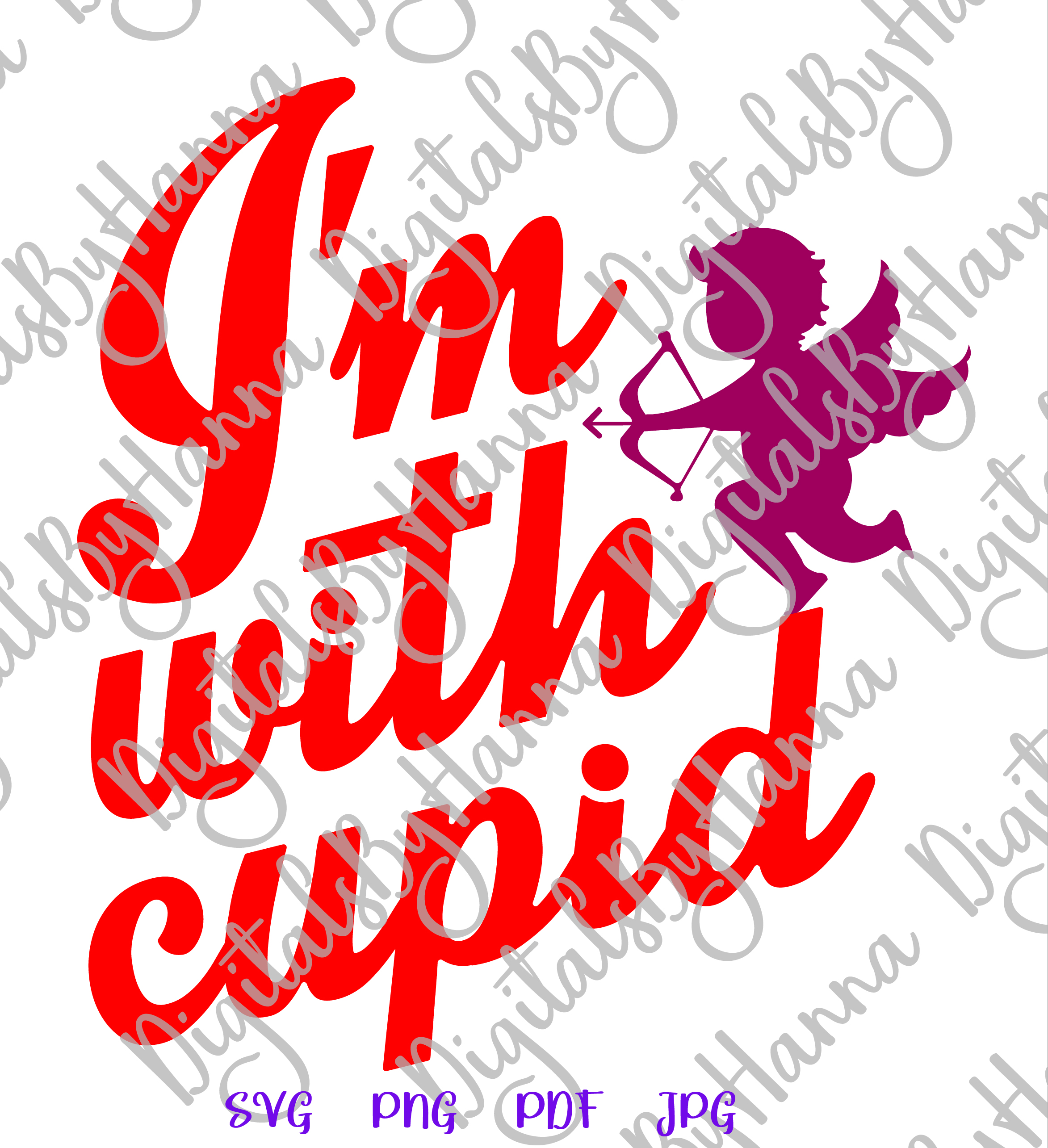 I'm With Cupid Valentine's DayFunny Sign Print & Cut PNG SVG example image 4