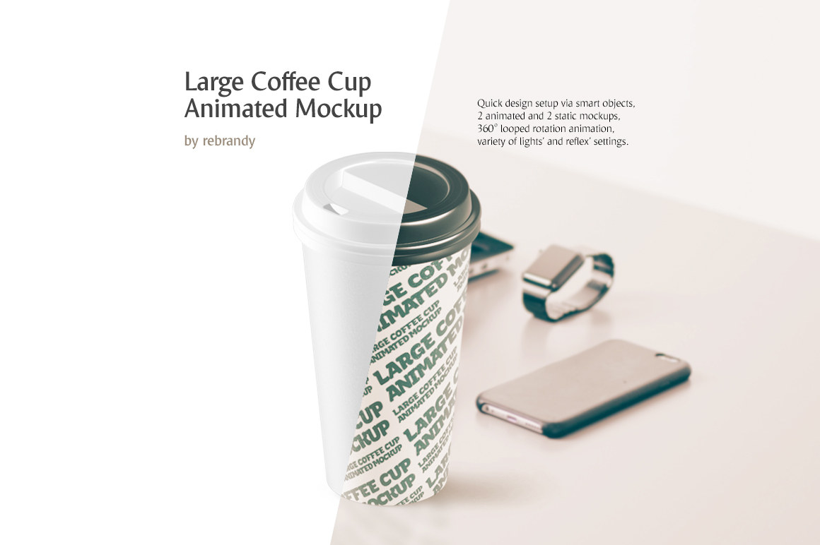 Large Coffee Cup Animated Mockup example image 1
