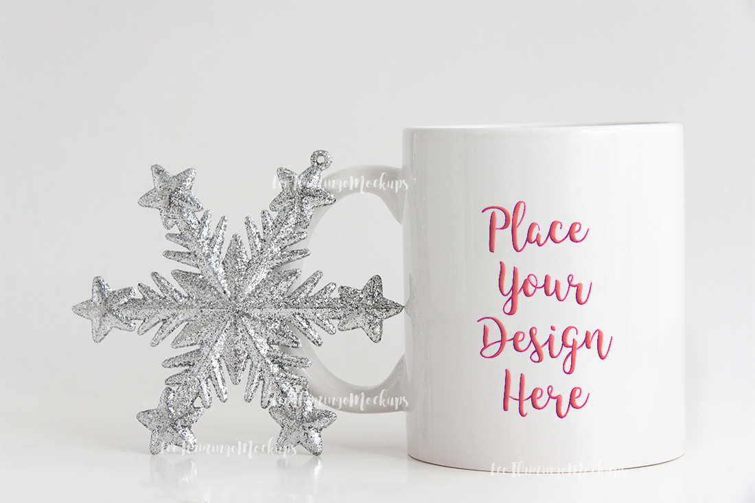 Winter white coffee mug mock up minimal  example image 1