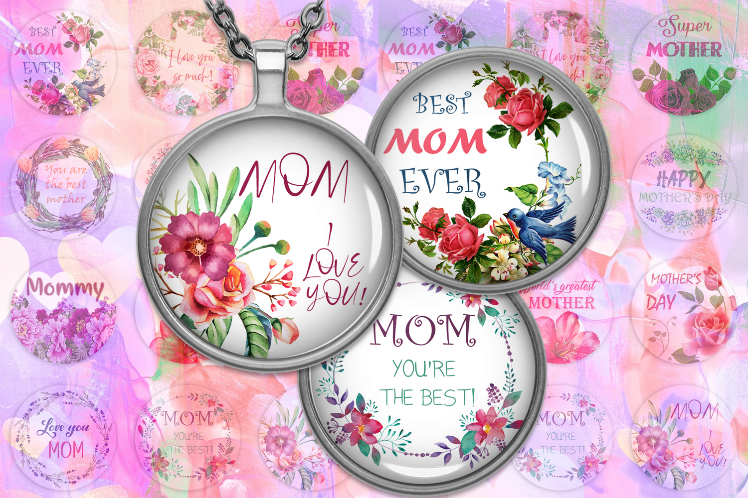 Mother's Day Digital Collage Sheet,Quotes Printable,Buttons example image 1