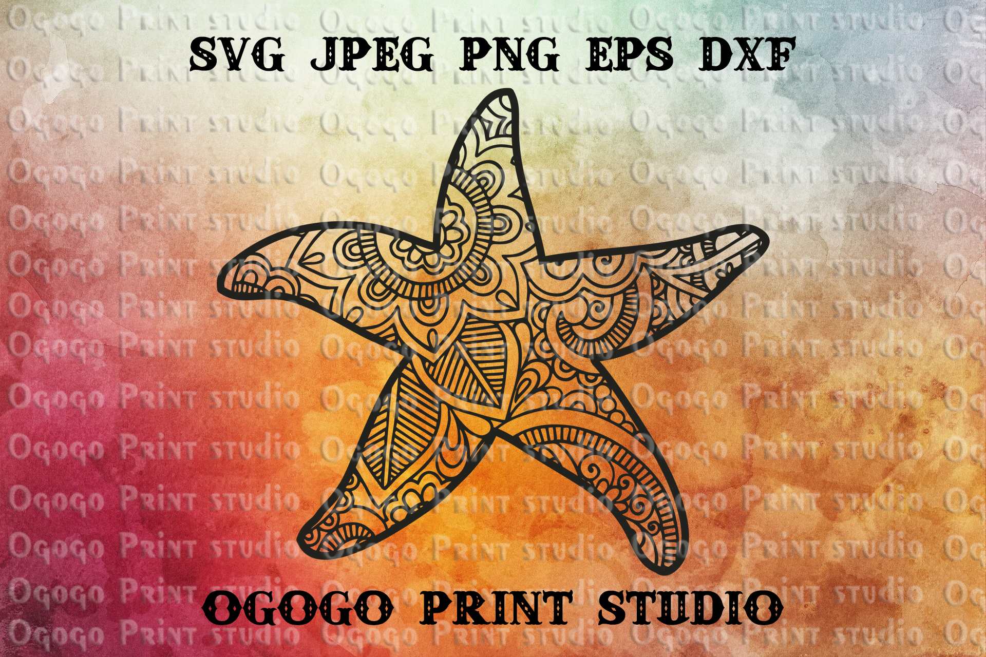 Starfish SVG, Zentangle SVG, Sea animal SVG, Mandala svg example image 1
