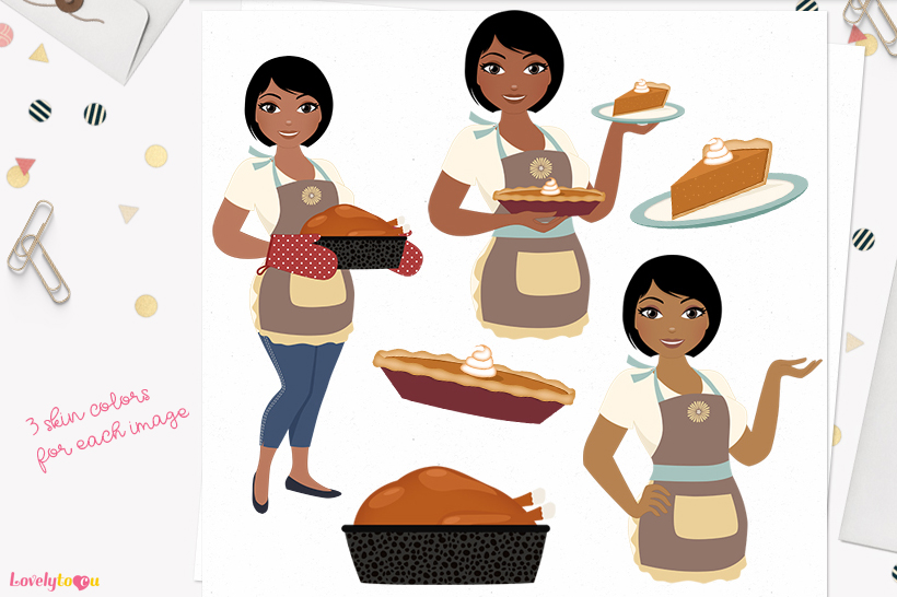 Thanksgiving woman character clip art L328 Oona example image 1