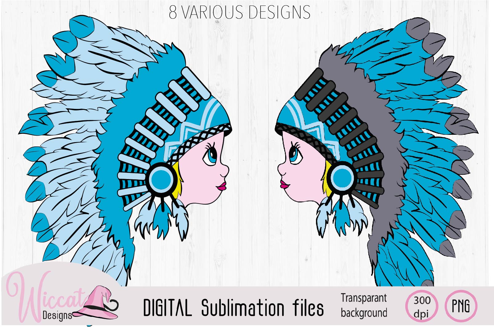 Girl with Headdress sublimation file example image 2