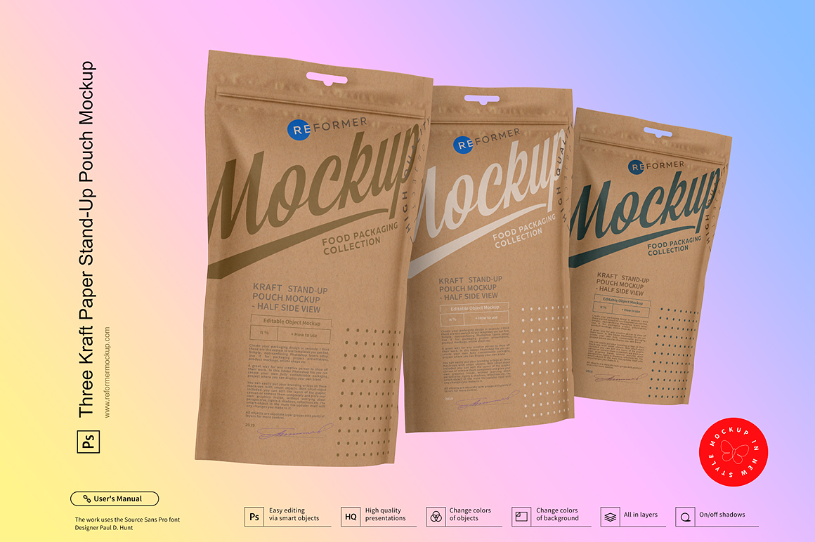 Three Kraft Paper Stand-Up Pouch Mockup example image 3