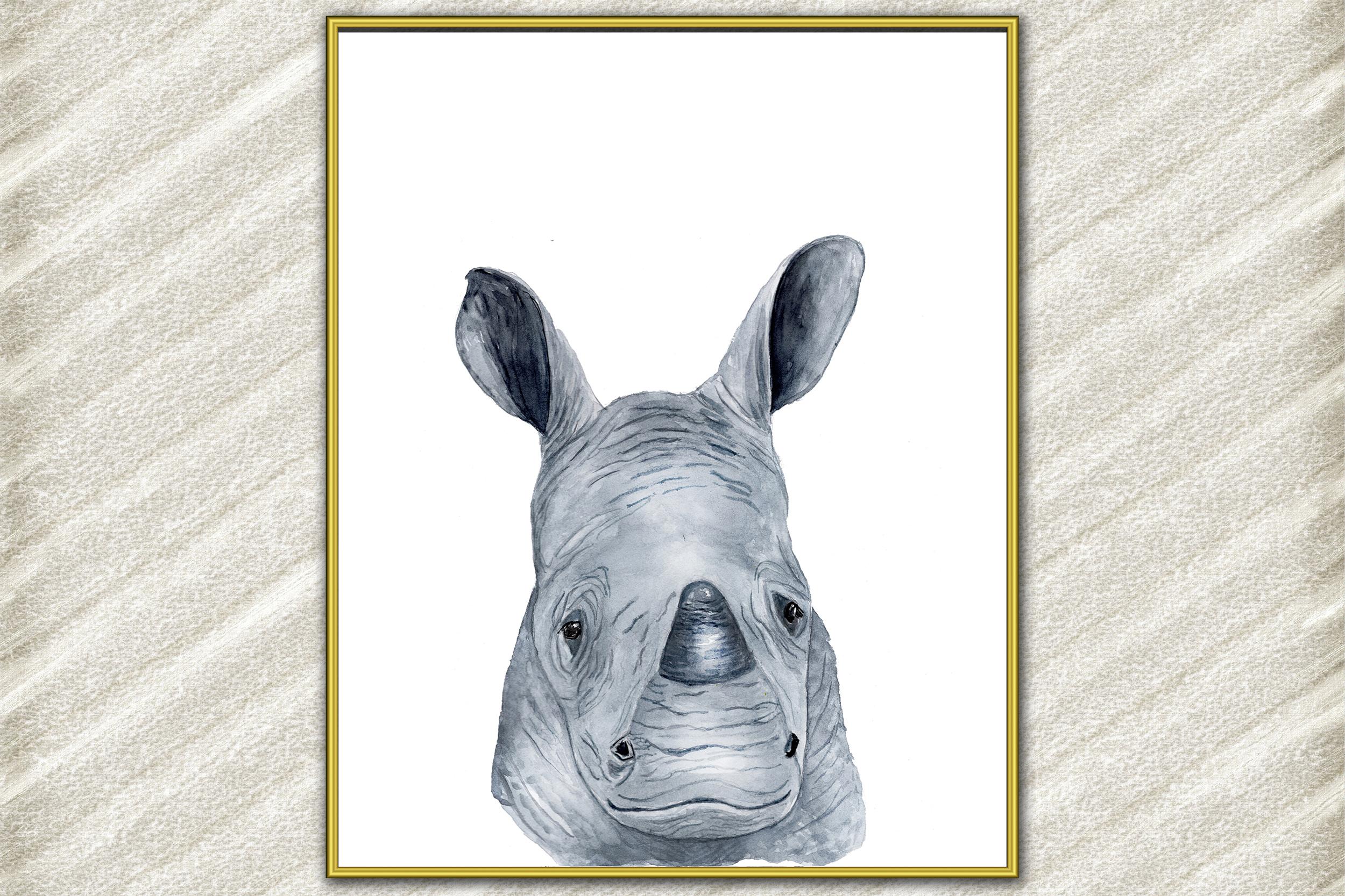 Rhino Watercolor Art Print, Nursery prints Baby Room Decor example image 1