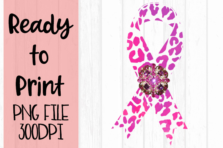 Pink Leopard Awareness Ribbon Ready to Print example image 1