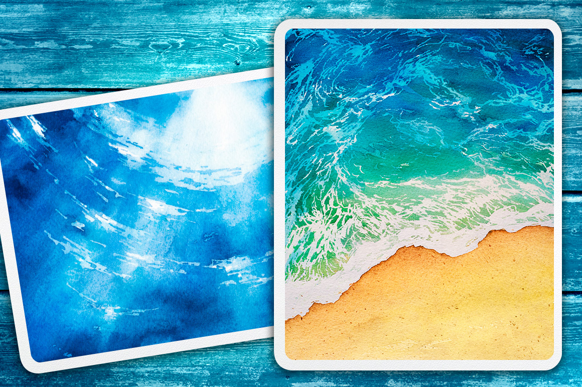 Seascapes. Watercolor illustrations. example image 9