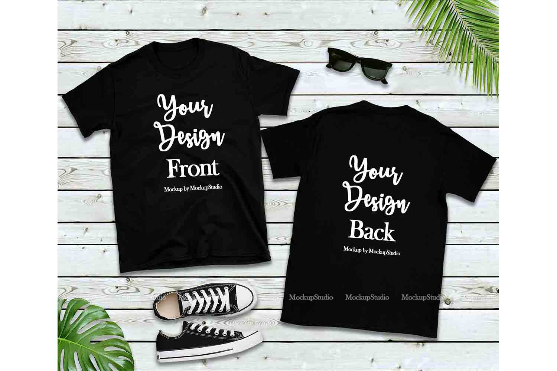 Front & Back Black Tshirt Mockup, Gildan 64000 Shirt Mock Up example image 1