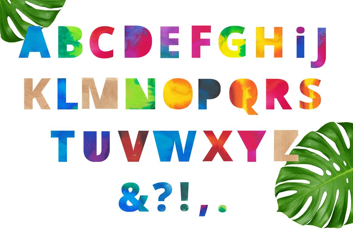 Beach party - watercolor alphabet example image 3