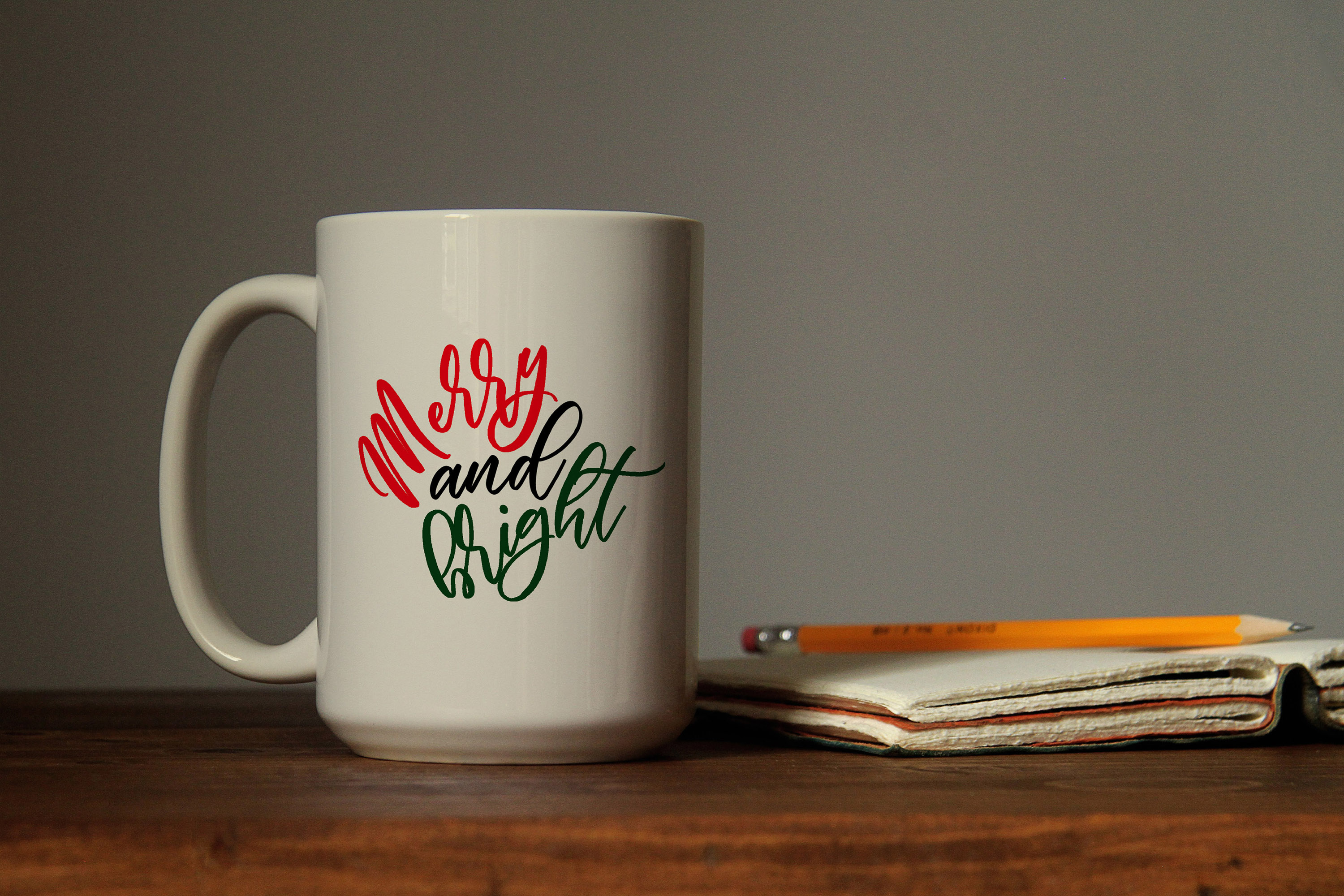 Merry and bright svg digital cut file Holiday Christmas example image 5