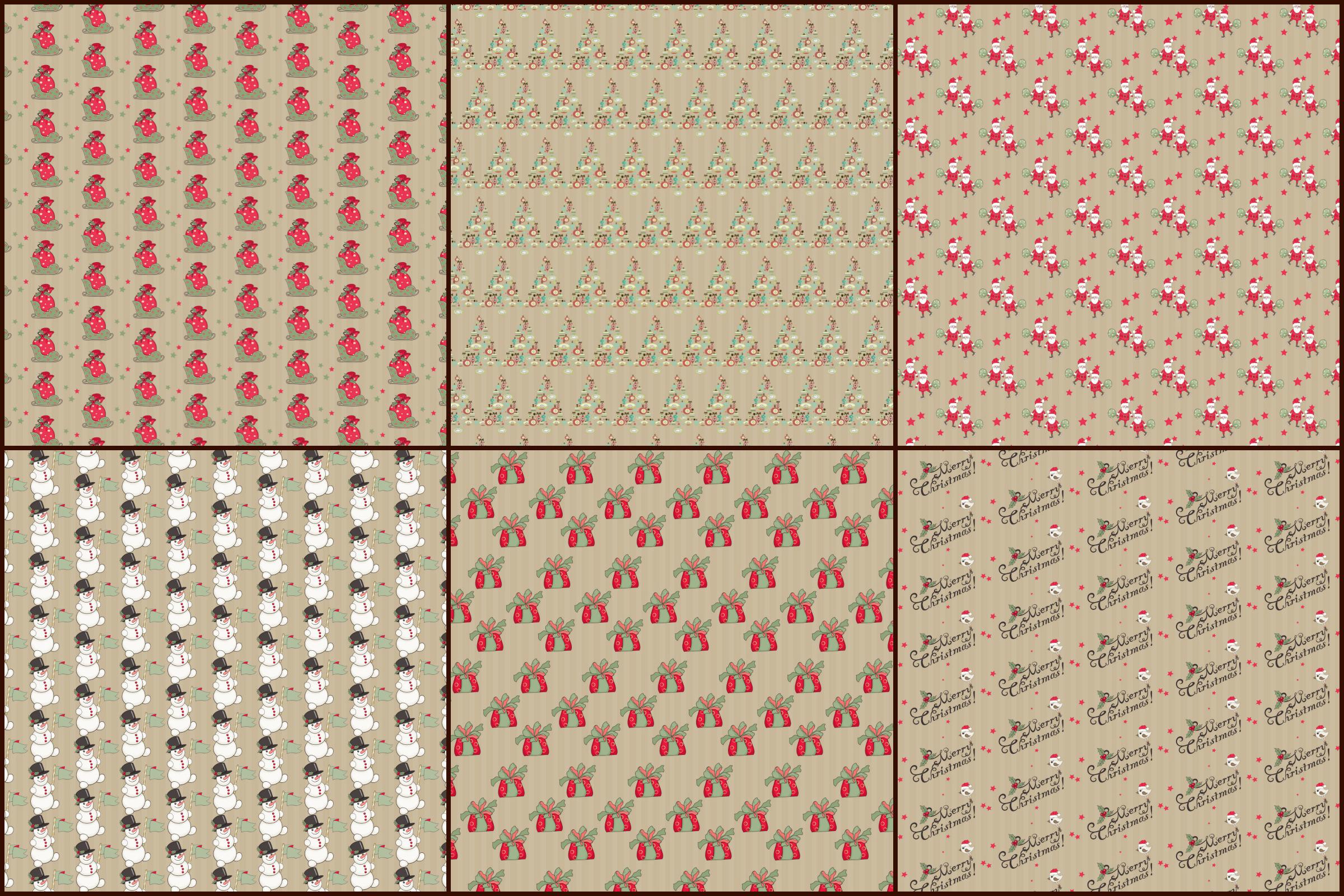 Kraft Christmas Patterns Digital Paper Pack example image 3