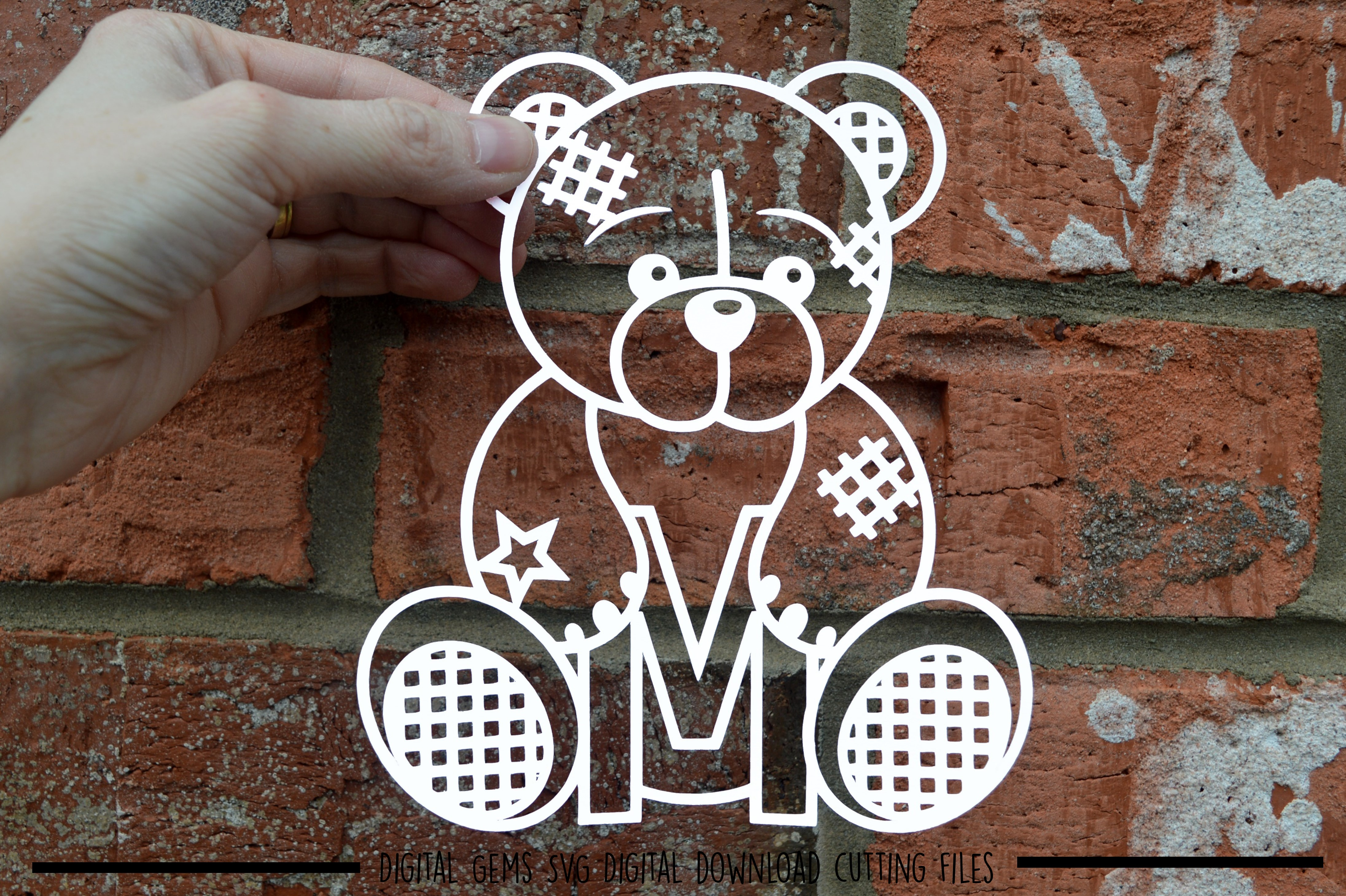 Alphabet teddy bear paper cuts SVG / DXF / EPS files example image 17