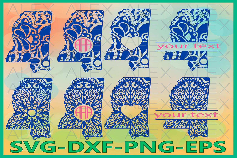 Mississippi State SVG, Mississippi Mandala SVG, Zentangle example image 1