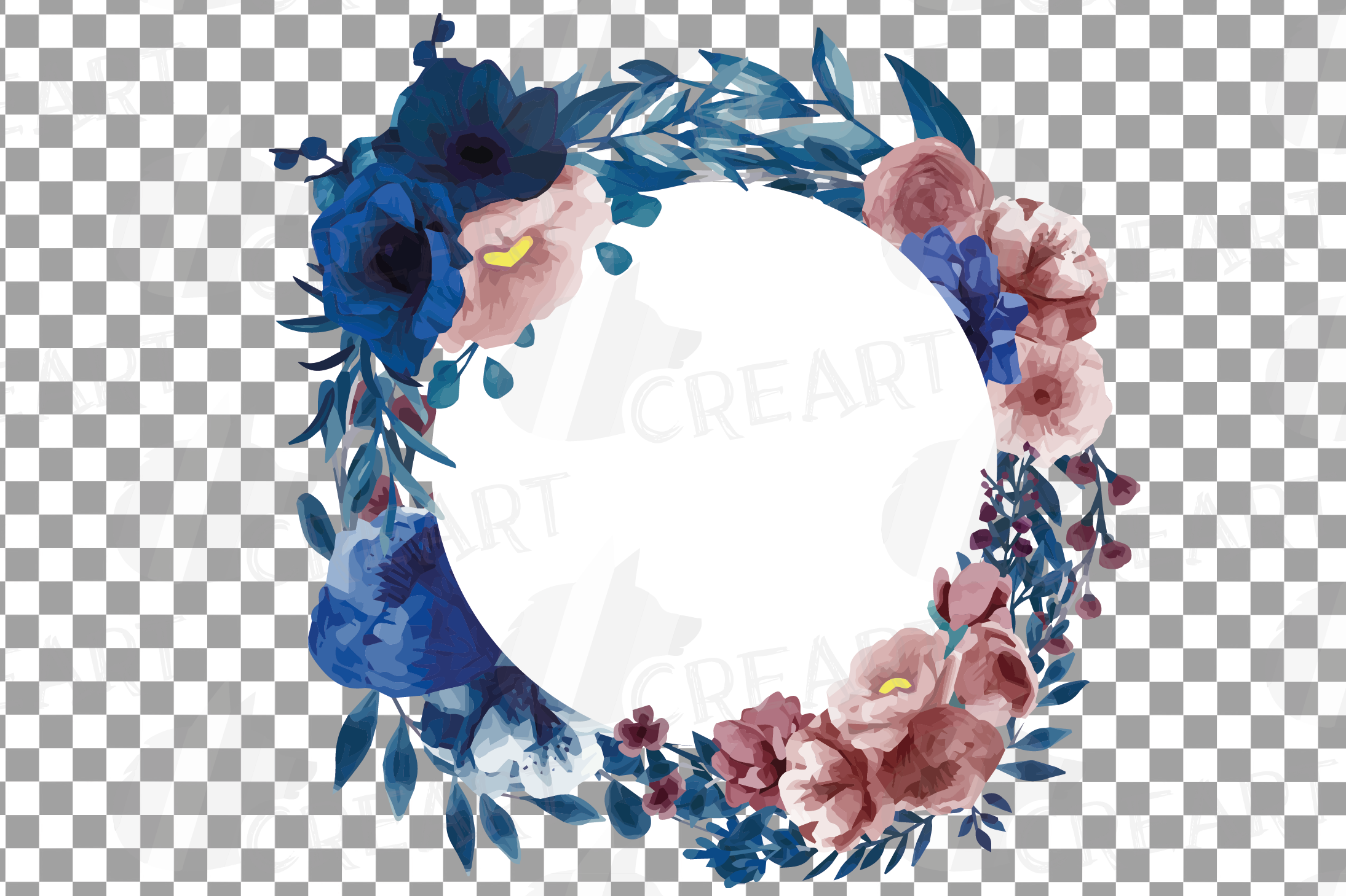 Watercolor elegant navy blue and blush floral borders vector example image 13