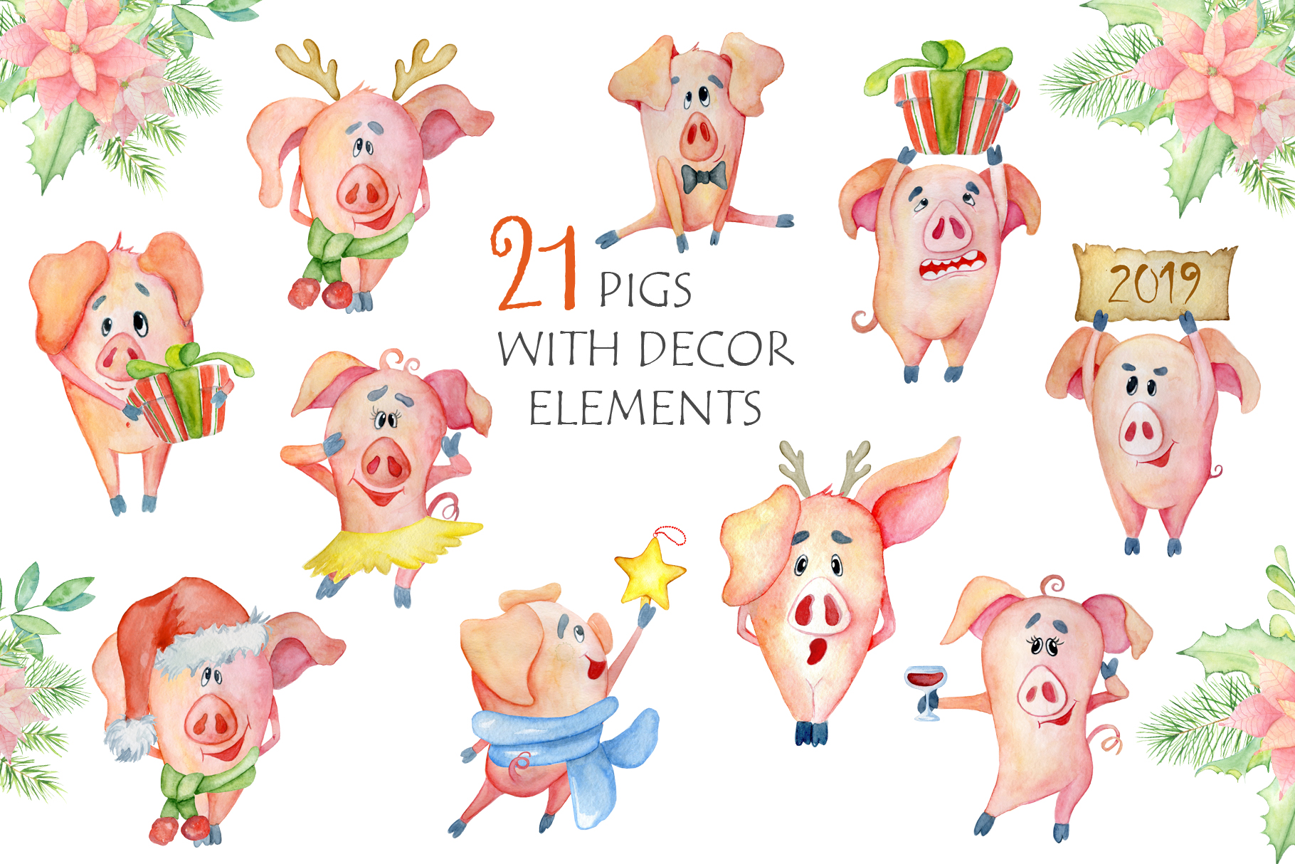 Cute Christmas pigs with decor elements for New Year 2019 example image 5