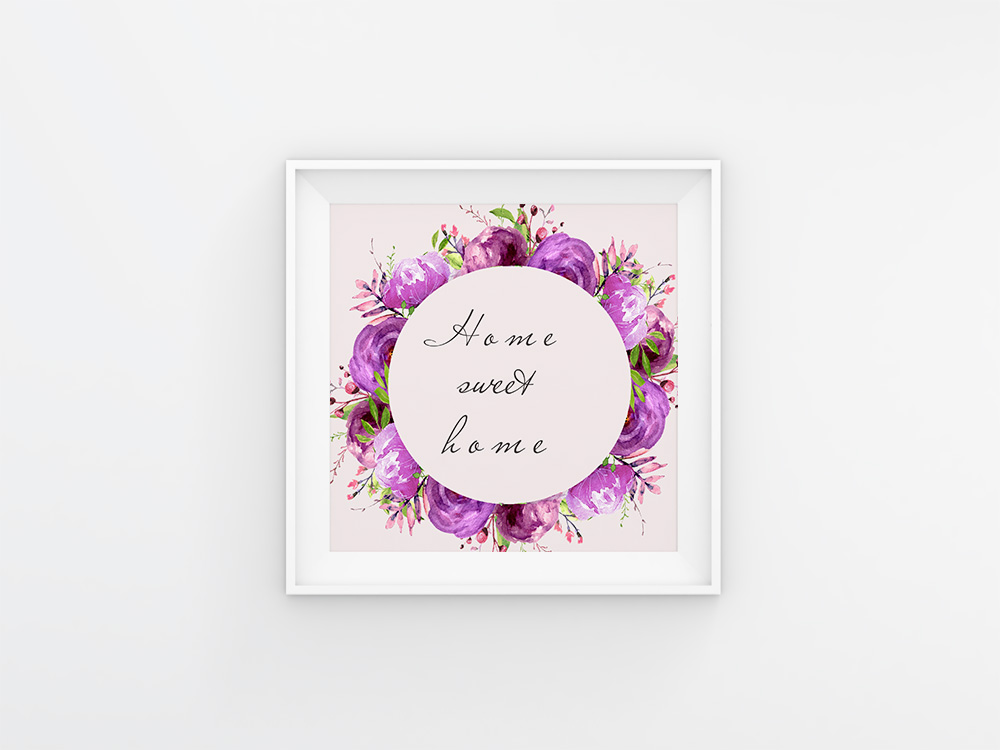 Purple Watercolor flowers clipart Wall art decor example image 3