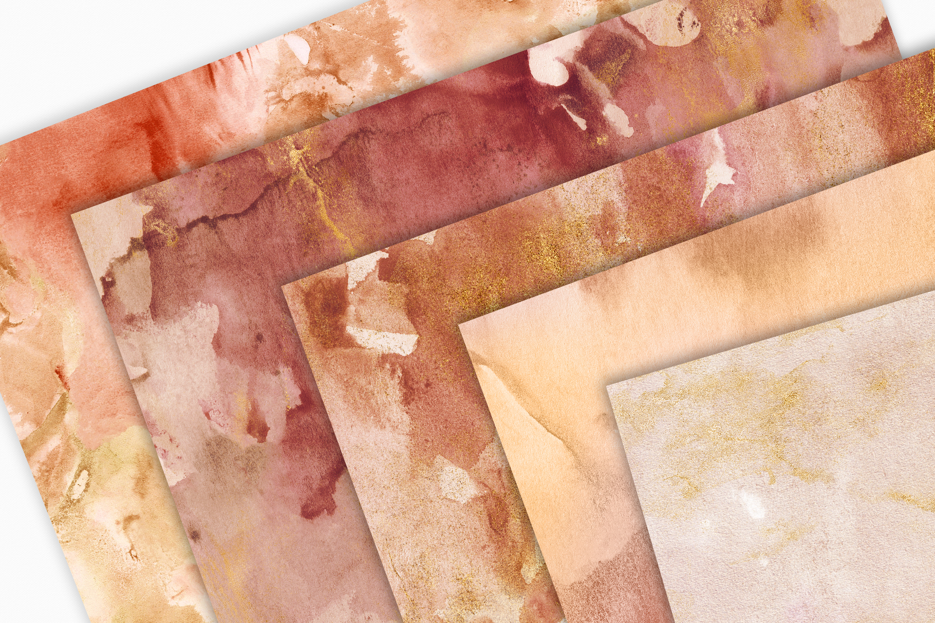 20 Seamless Watercolor Textures - Burnt Orange Backgrounds example image 6