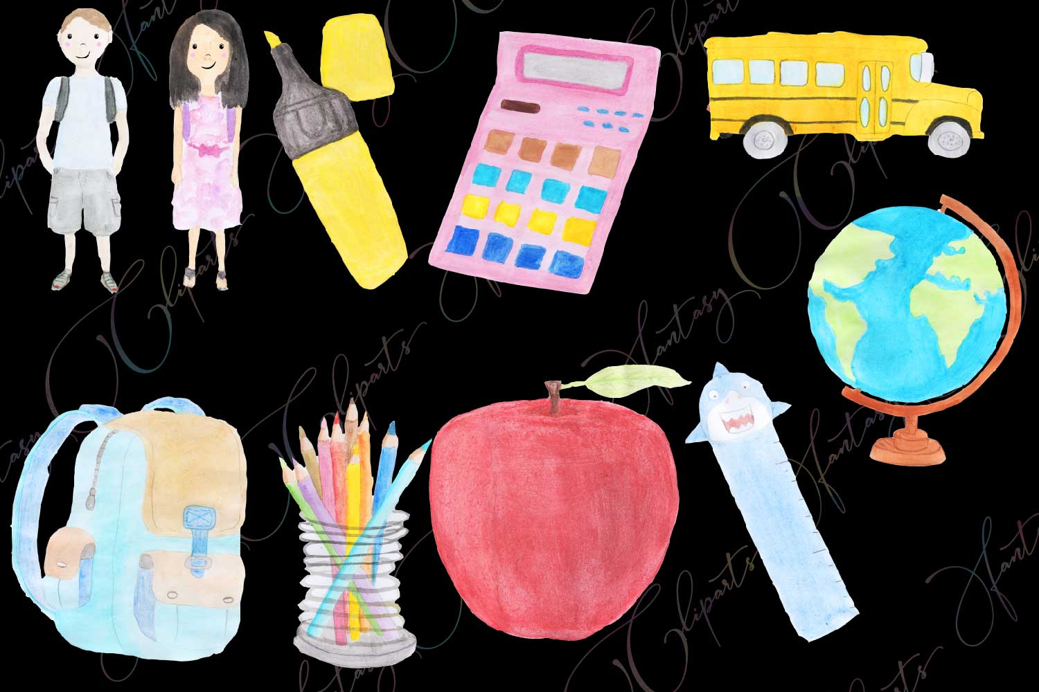 Watercolor Hand Drawn Back To School Clipart example image 2