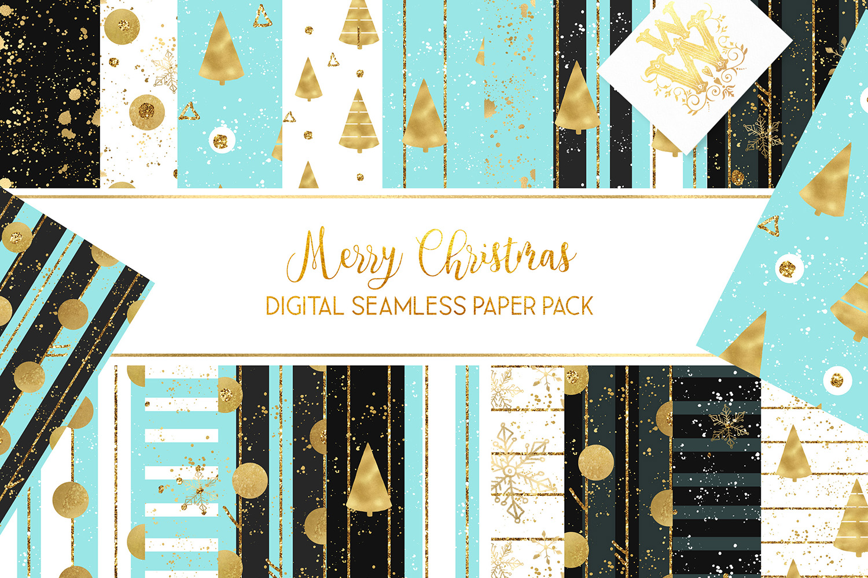 Christmas digital paper pack, seamless pattern snowflake example image 1