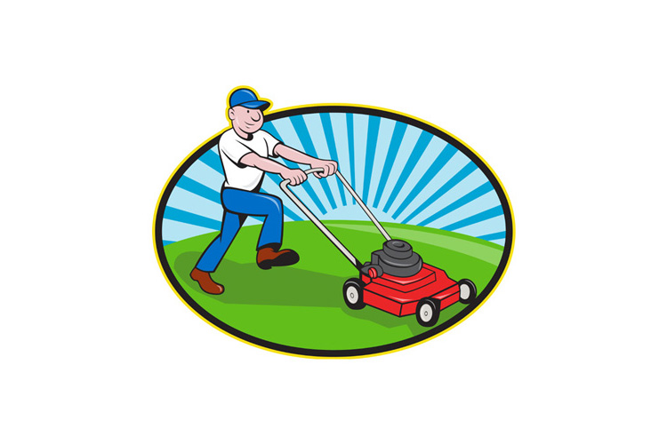 Lawn Mower Man Gardener Cartoon example image 1
