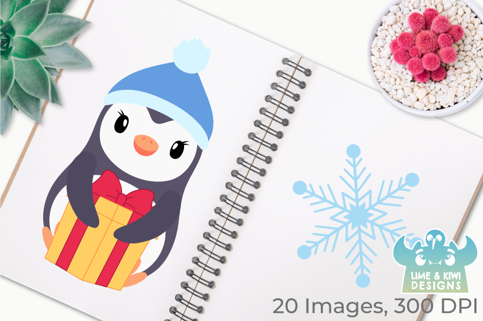 Christmas Penguins Clipart, Instant Download Vector Art example image 3