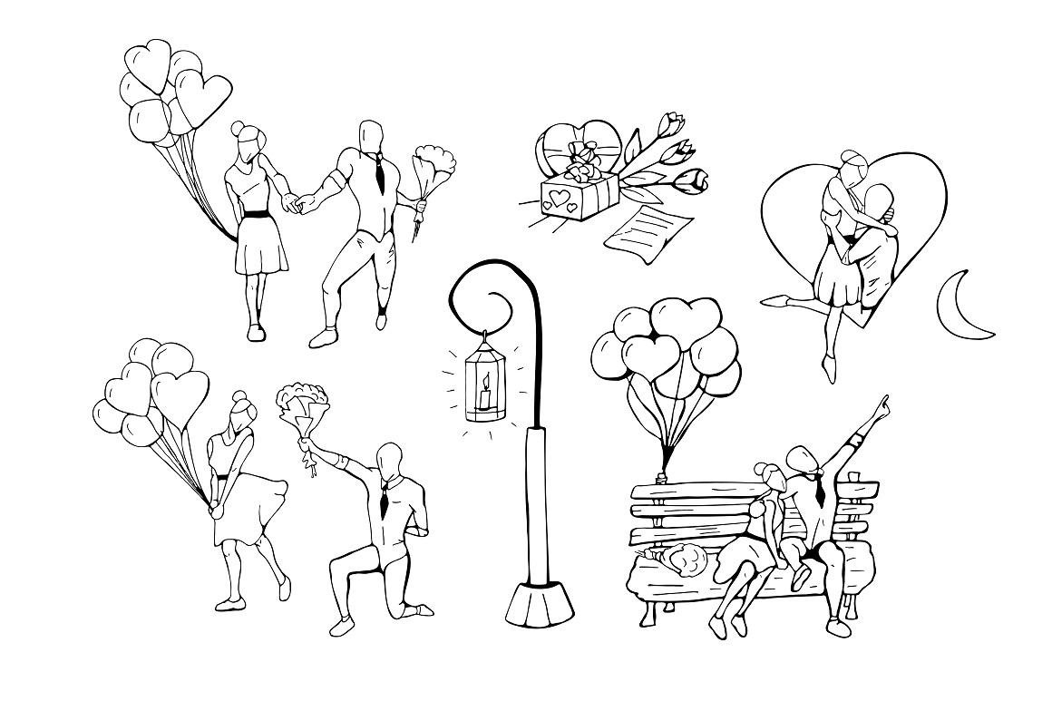 Hand drawn romantic illustration set example image 2