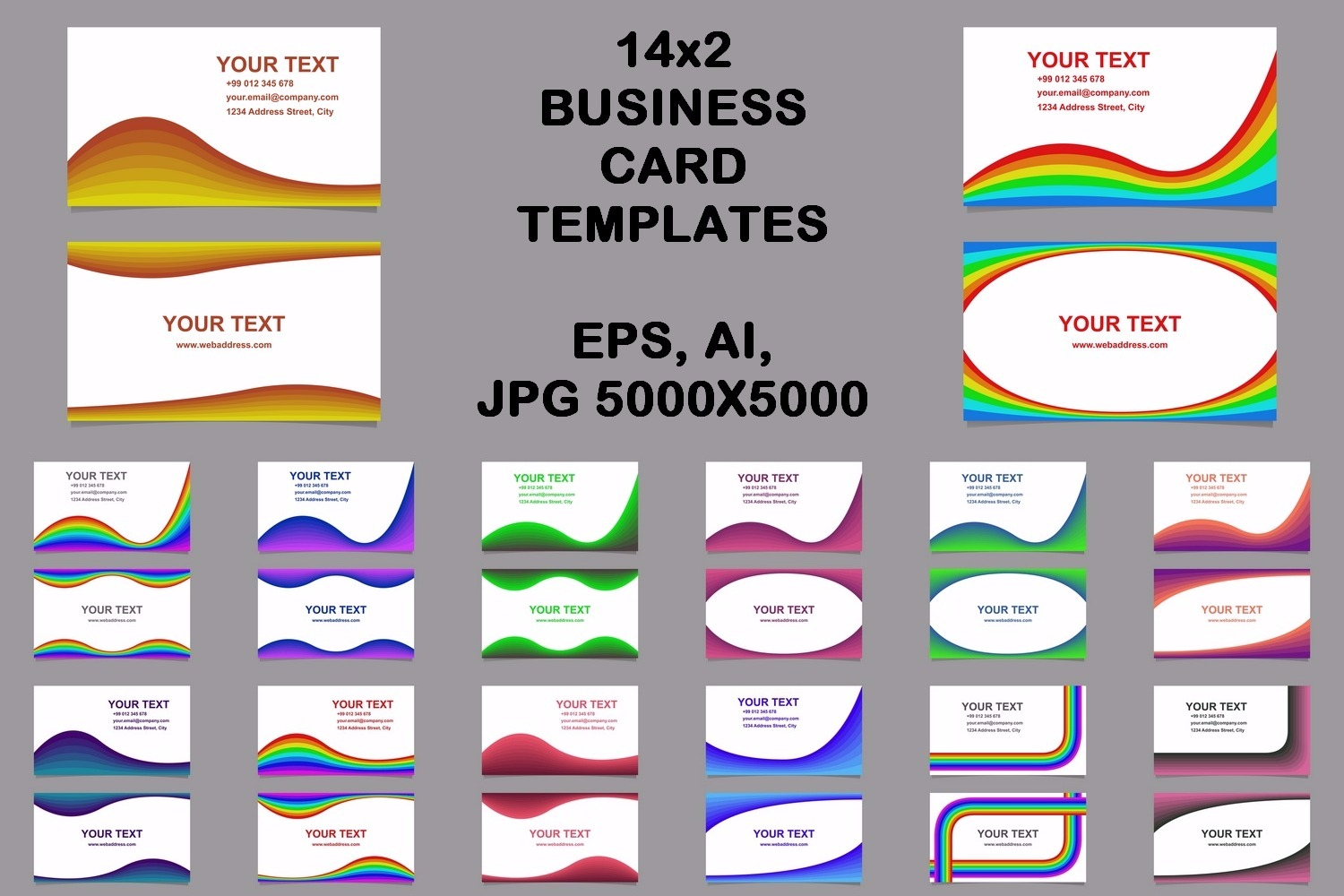 14x2 curved design business card templates (EPS, AI, JPG 5000x5000) example image 2