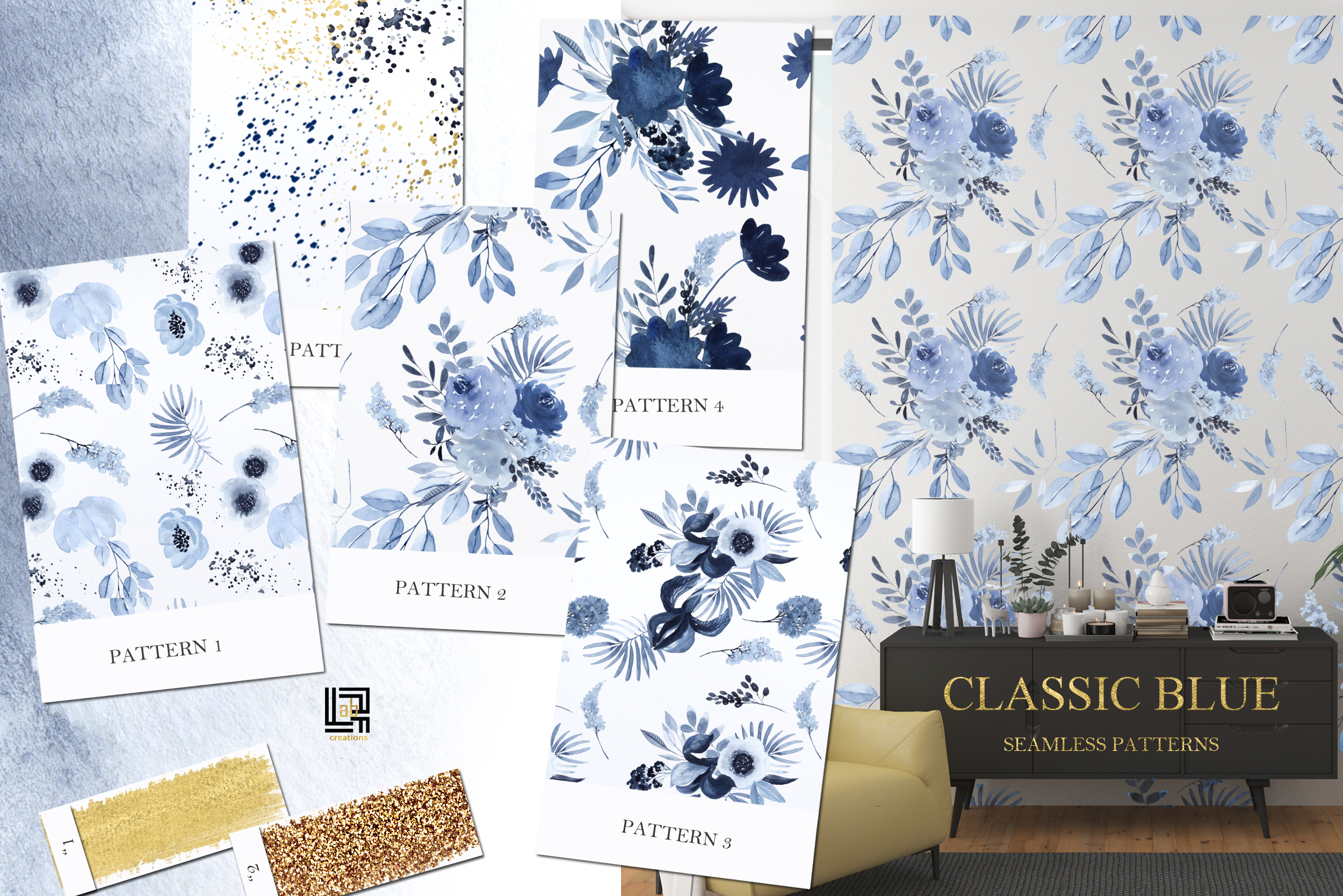 Classic Blue. Large Watercolor floral collection. example image 5