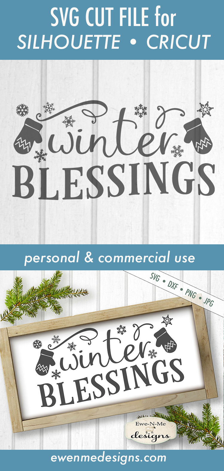 Winter Blessings - Mittens - SVG DXF Files example image 3