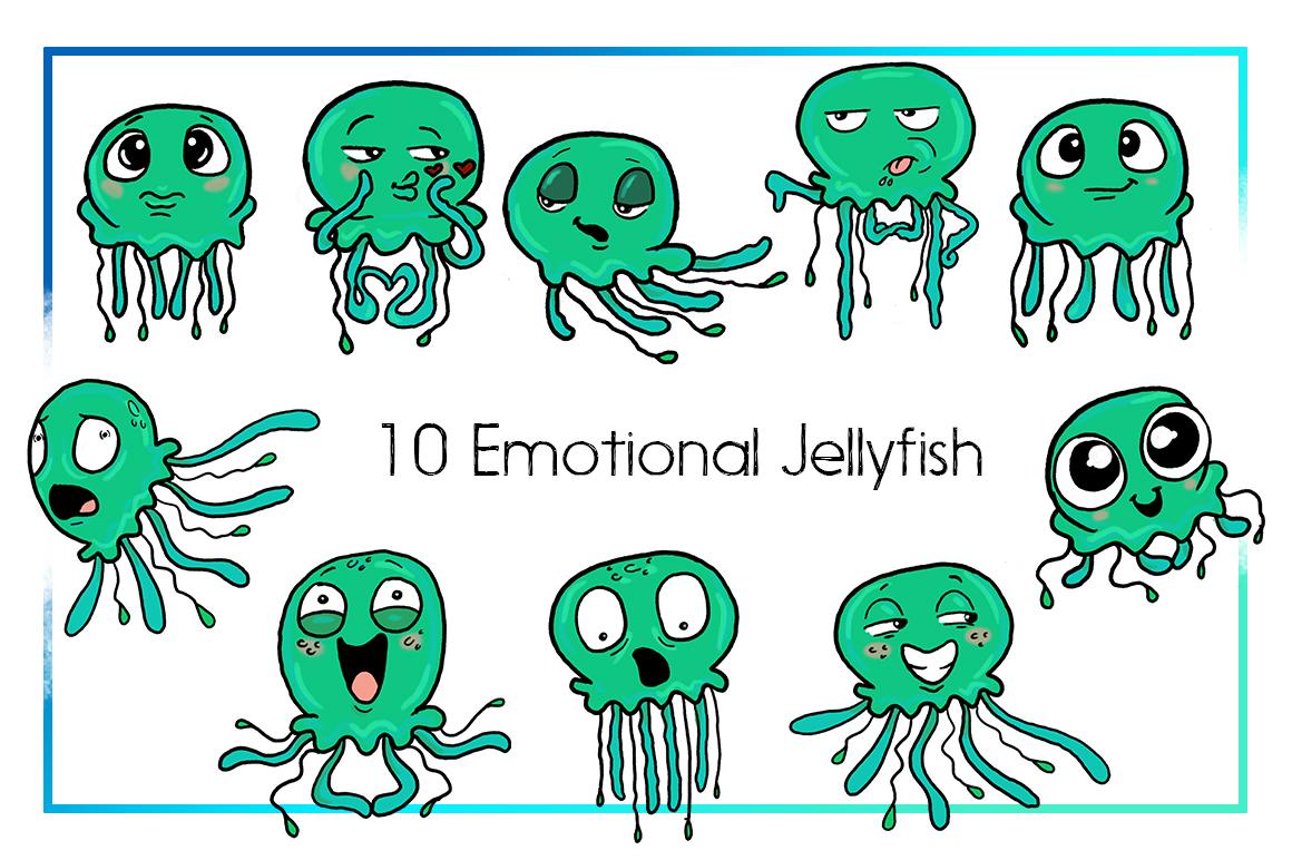 Jellyfish Clipart-Sea Clipart-Nautical Clipart-Cartoon-Sticker Clipart-Digital-Jellyfish-Art-Funny-Digital JellyFish-Sea Creature-Commercial example image 2