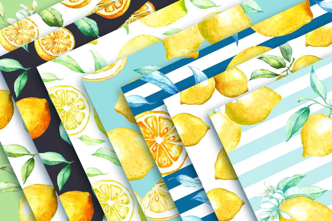 Watercolor lemon set example image 3