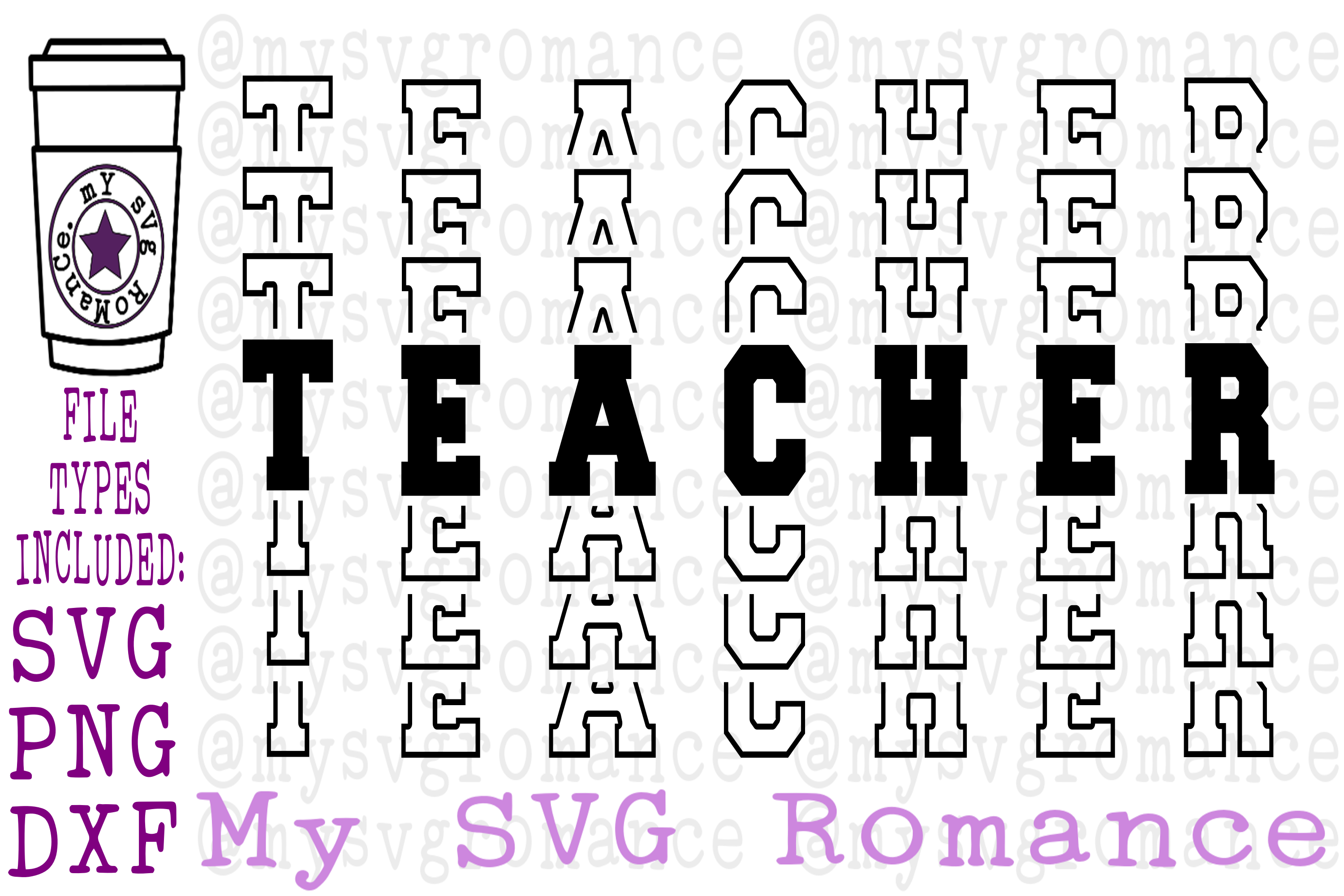 Teacher - Word Mirror SVG PNG DXF Mirrored Teacher example image 1