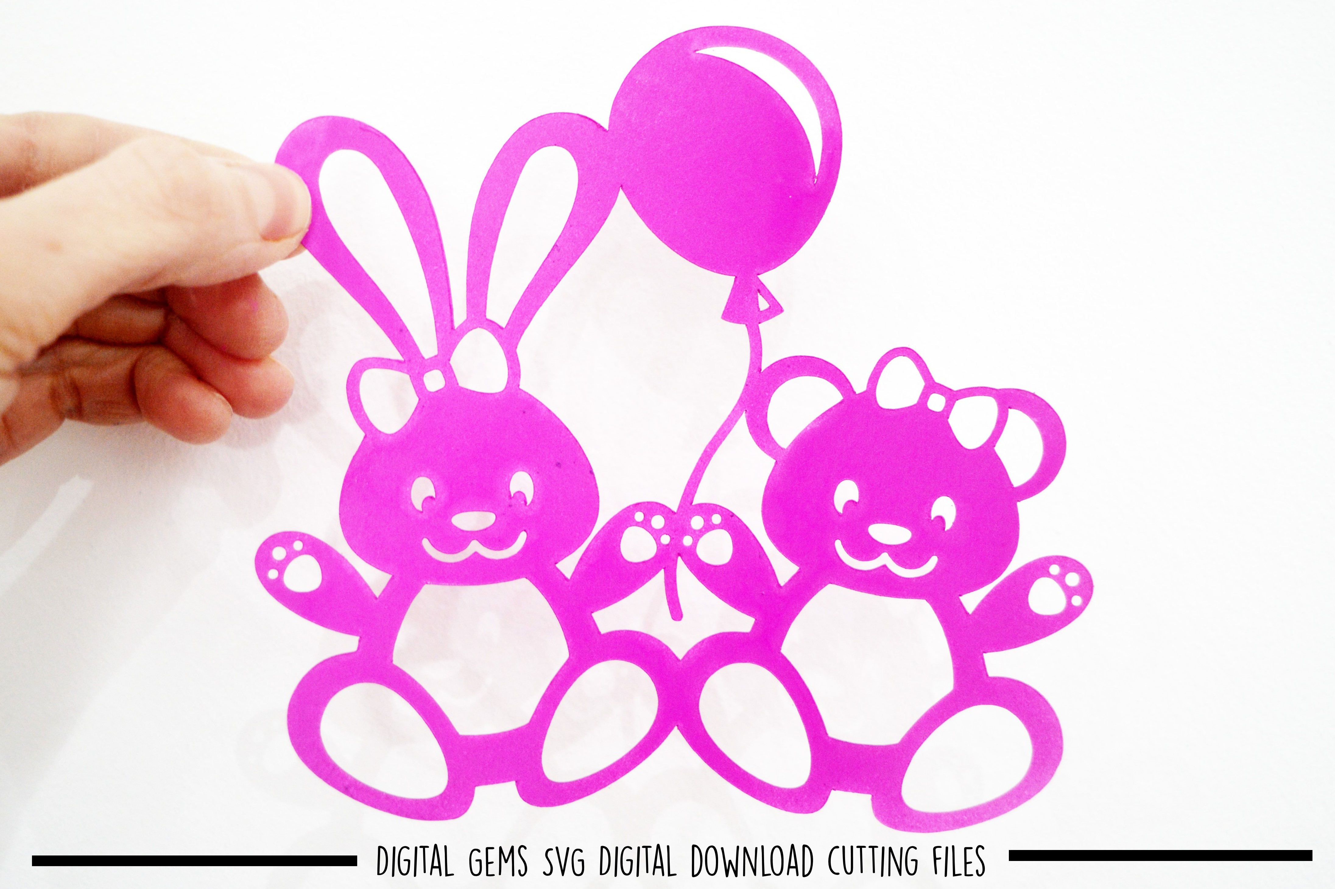 Rabbit and Bear paper cut SVG / DXF / EPS files example image 1