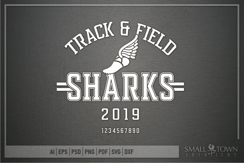 Sharks Track and Field, Shark mascot, PRINT, CUT, DESIGN example image 5