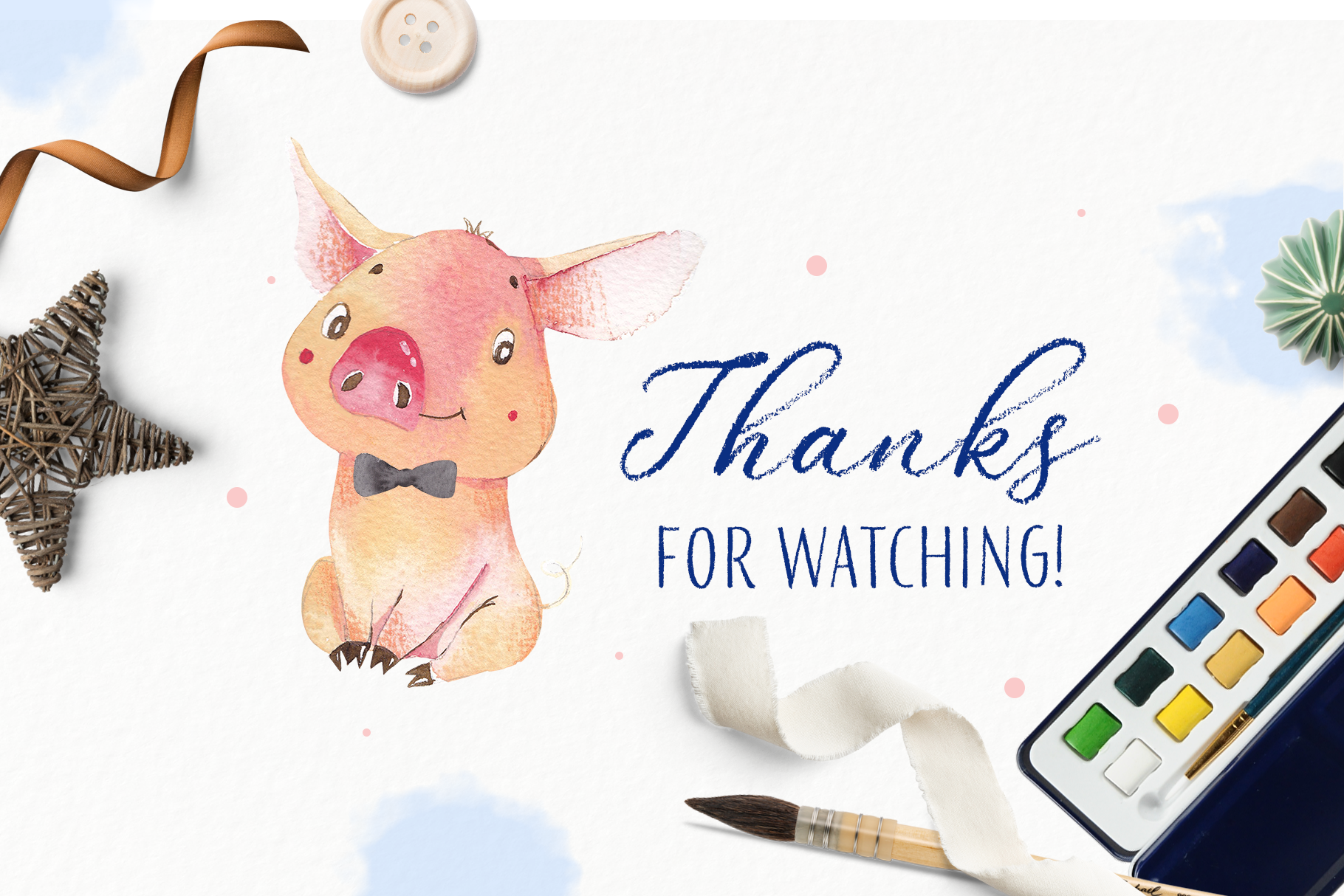 Oh my piggy - watercolor collection example image 9