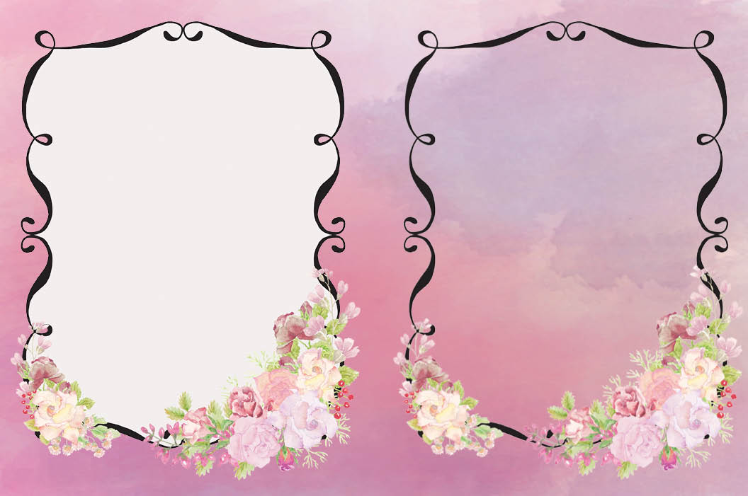 Frames with pink watercolor roses example image 3