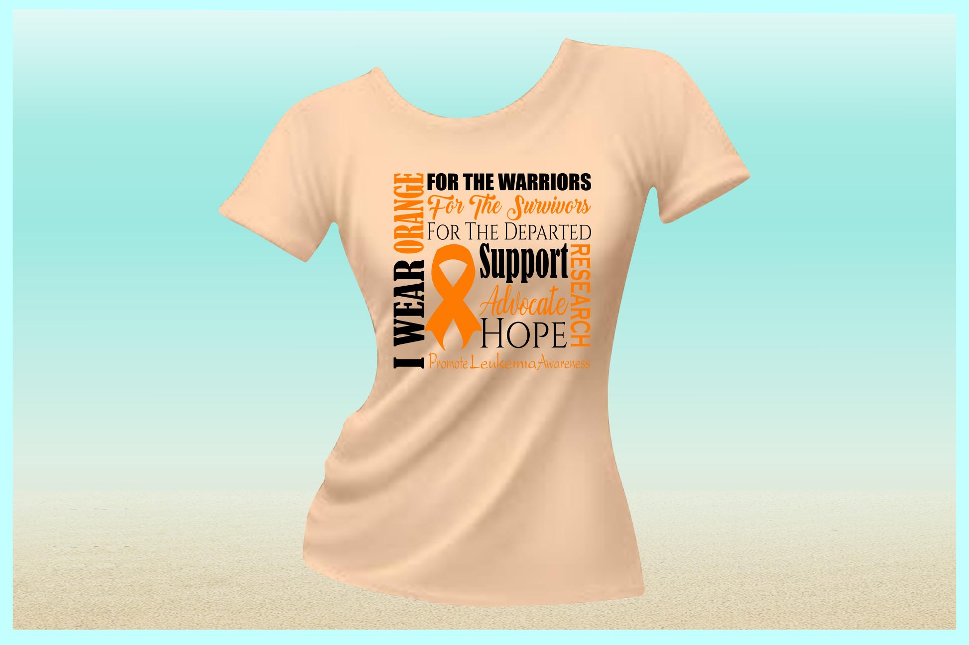 I WEAR ORANGE Leukemia Awareness SVG DXF EPS PNG PDF files example image 2