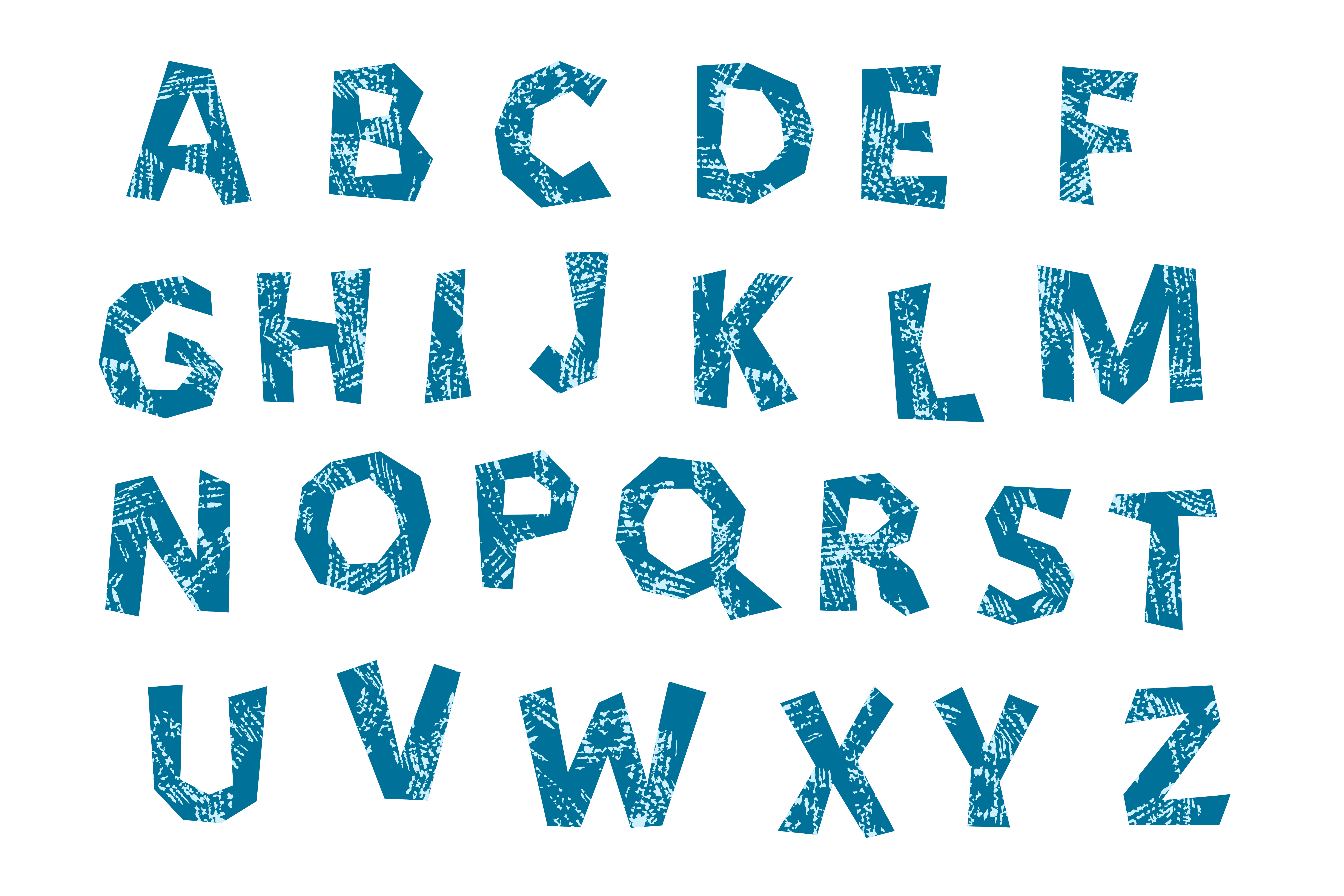 Vector alphabet, A to Z letters, grunge texture