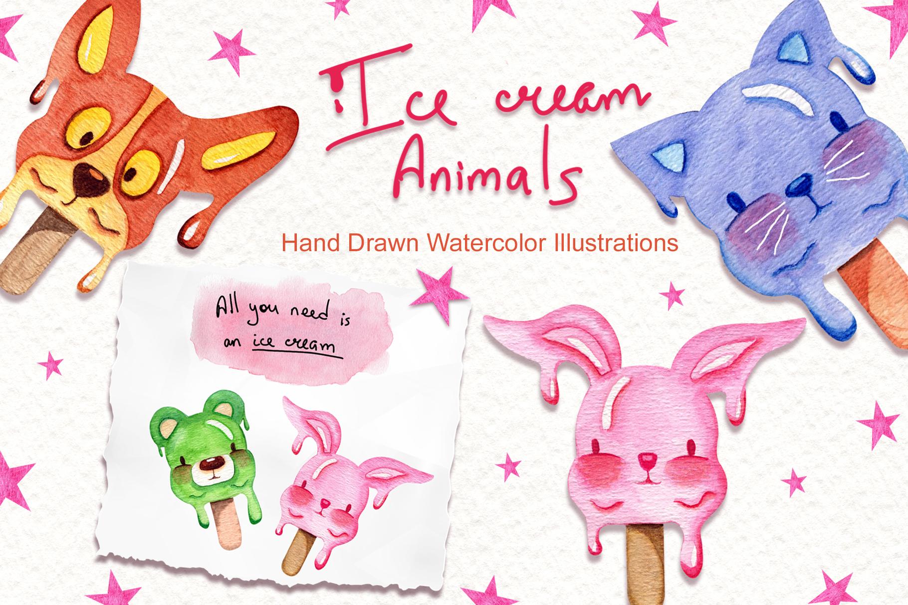 Watercolor Ice Cream Animals example image 1