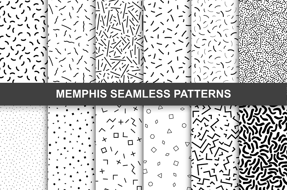 Memphis seamless patterns. Swatches. example image 1