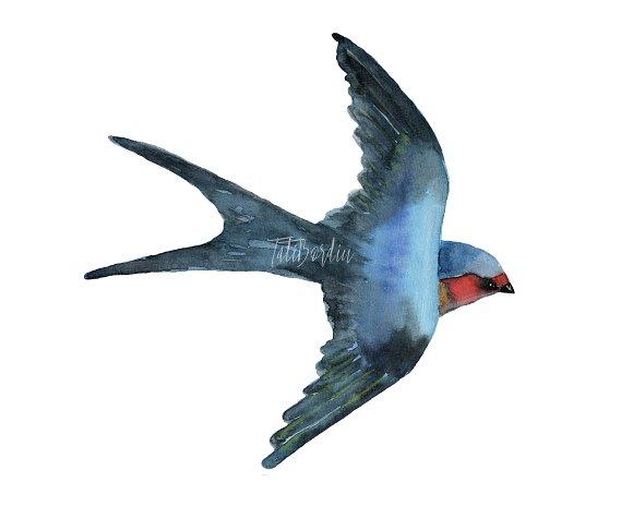Watercolor Birds Clip Art example image 2